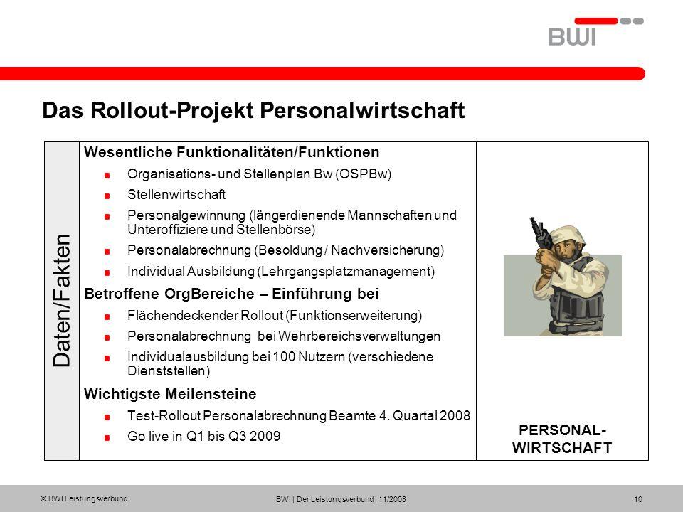 Das Rollout-Projekt Personalwirtschaft
