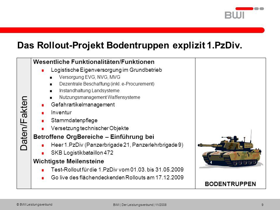 Das Rollout-Projekt Bodentruppen explizit 1.PzDiv.