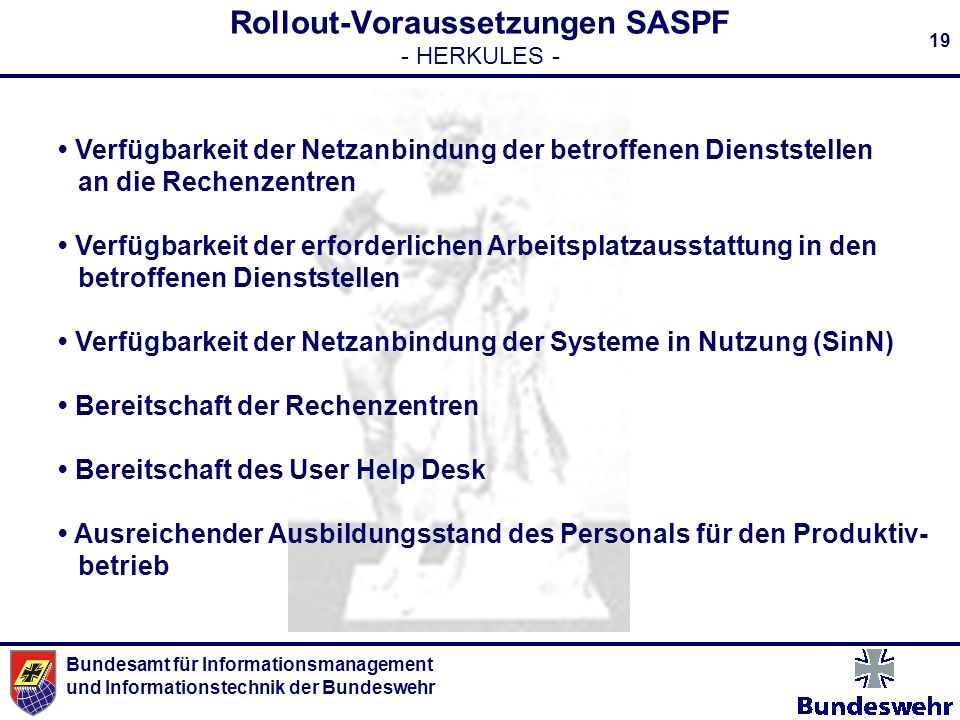 Rollout-Voraussetzungen SASPF - HERKULES -