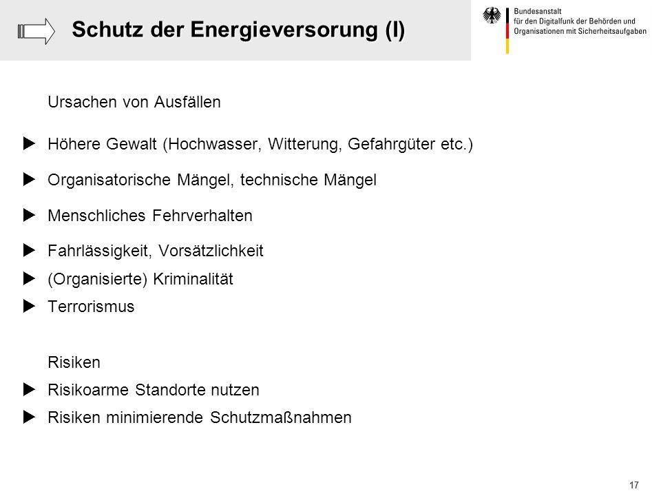 Schutz der Energieversorung (I)