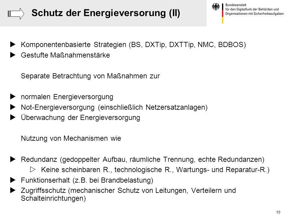 Schutz der Energieversorung (II)