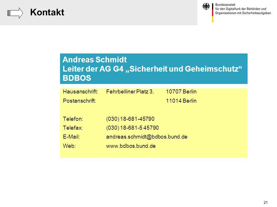 """Kontakt Andreas Schmidt Leiter der AG G4 """"Sicherheit und Geheimschutz"""