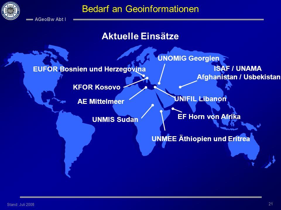Bedarf an Geoinformationen