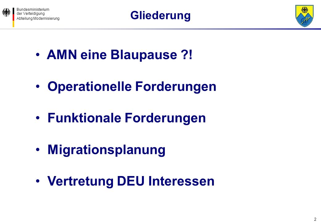 Operationelle Forderungen Funktionale Forderungen Migrationsplanung