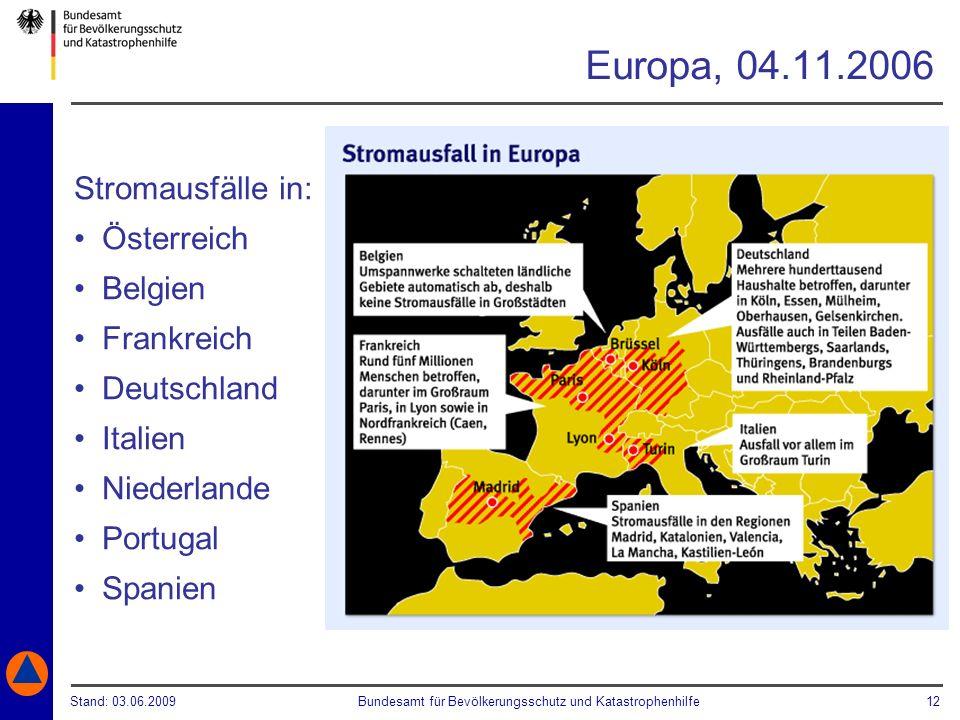 Europa, 04.11.2006 Stromausfälle in: Österreich Belgien Frankreich