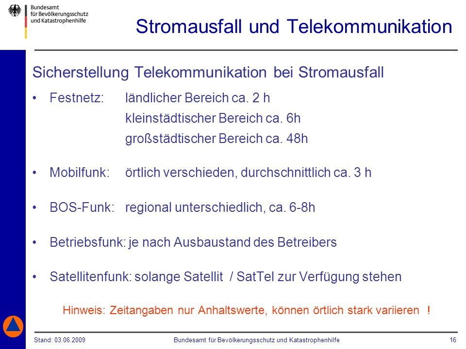 Stromausfall und Telekommunikation