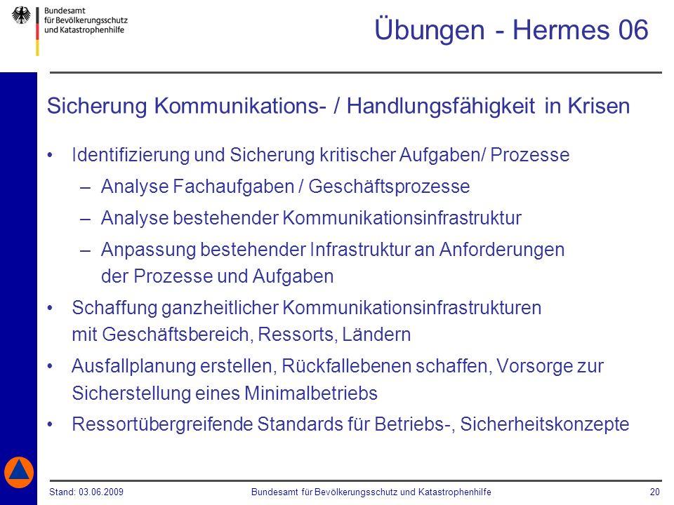 Übungen - Hermes 06Sicherung Kommunikations- / Handlungsfähigkeit in Krisen. Identifizierung und Sicherung kritischer Aufgaben/ Prozesse.