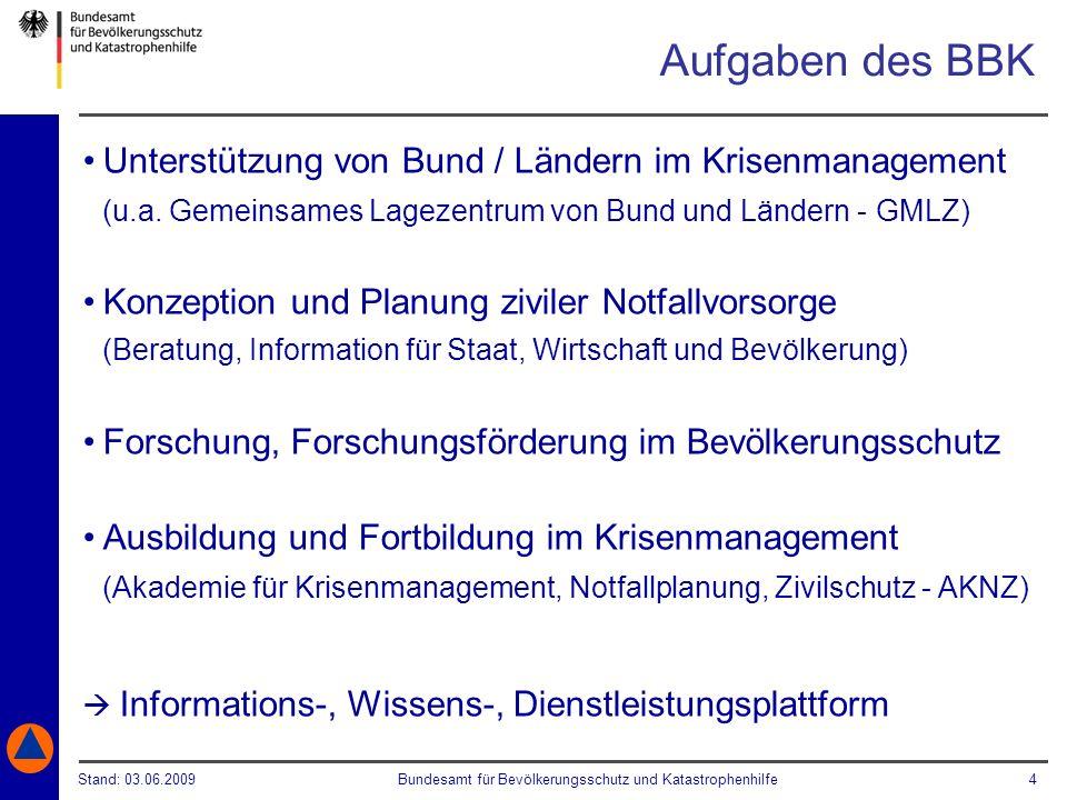 Aufgaben des BBKUnterstützung von Bund / Ländern im Krisenmanagement (u.a. Gemeinsames Lagezentrum von Bund und Ländern - GMLZ)