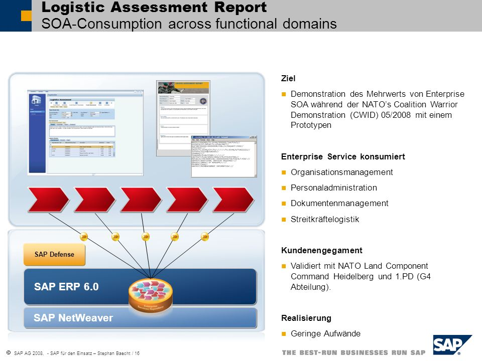 Logistic Assessment Report SOA-Consumption across functional domains