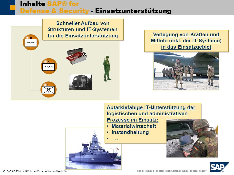Inhalte SAP® for Defense & Security - Einsatzunterstützung