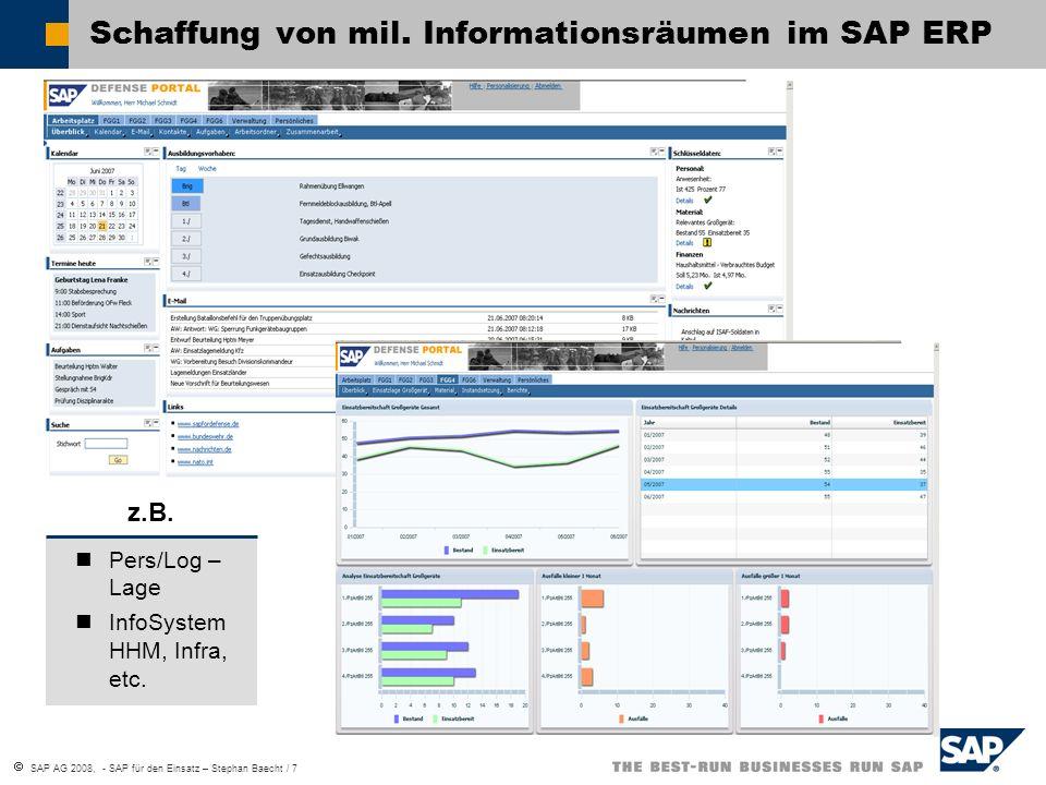 Schaffung von mil. Informationsräumen im SAP ERP