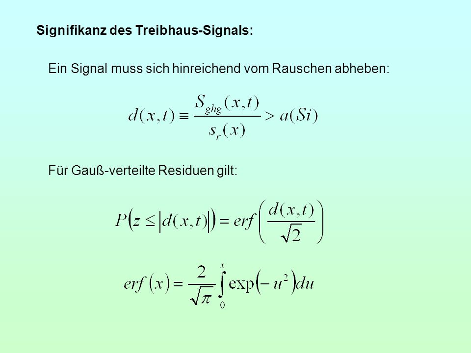 Signifikanz des Treibhaus-Signals: