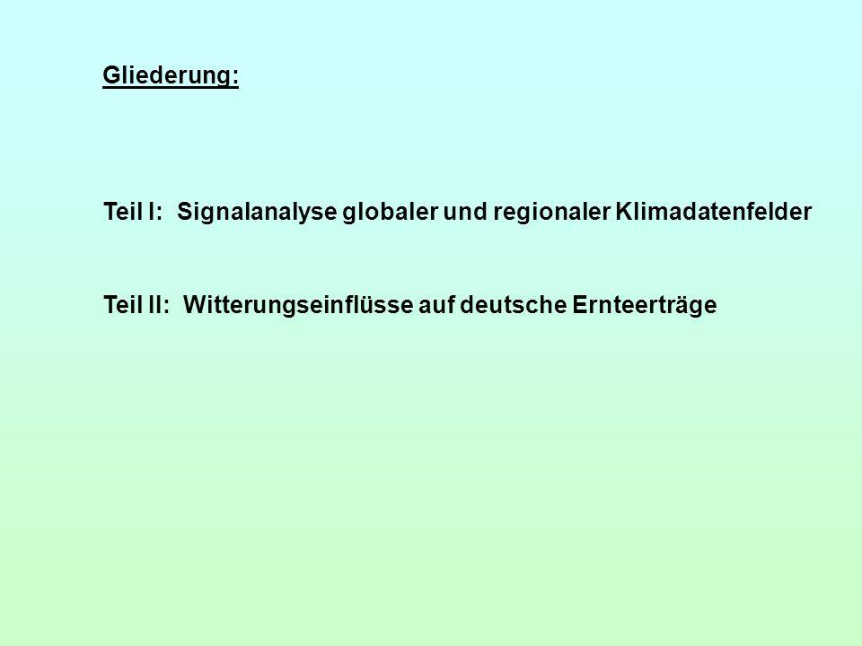 Gliederung: Teil I: Signalanalyse globaler und regionaler Klimadatenfelder.