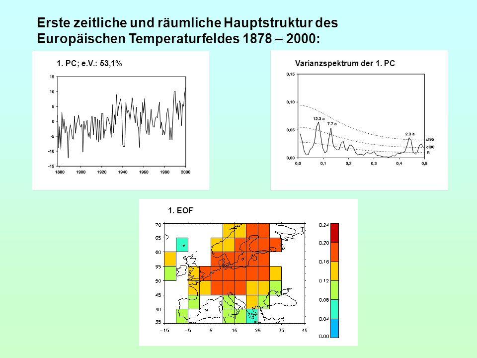 Erste zeitliche und räumliche Hauptstruktur des Europäischen Temperaturfeldes 1878 – 2000: