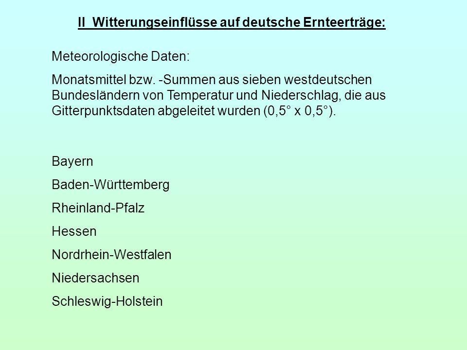 II Witterungseinflüsse auf deutsche Ernteerträge: