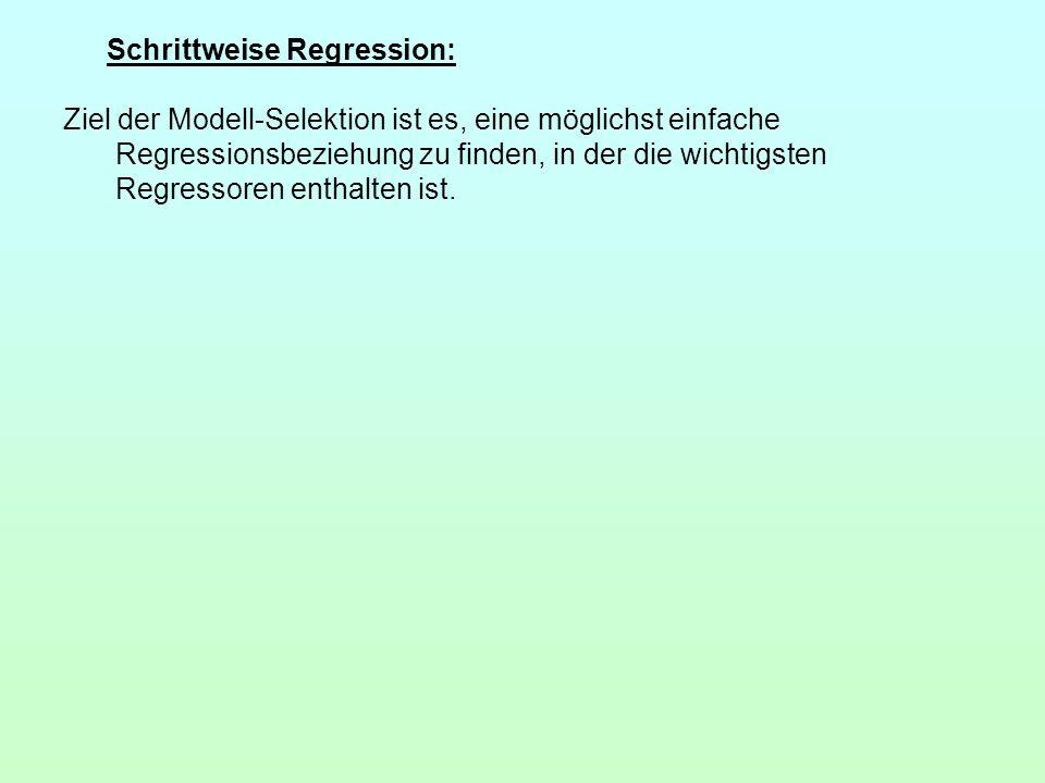 Schrittweise Regression: