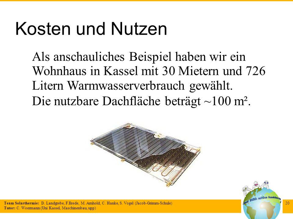 Kosten und Nutzen Als anschauliches Beispiel haben wir ein Wohnhaus in Kassel mit 30 Mietern und 726 Litern Warmwasserverbrauch gewählt.