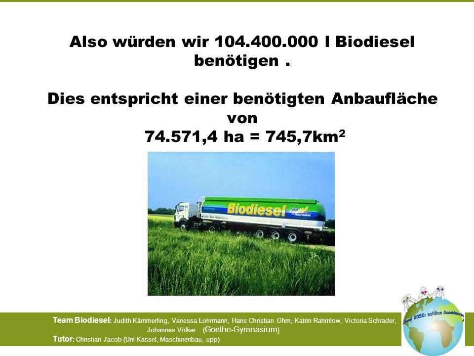 Also würden wir 104. 400. 000 l Biodiesel benötigen