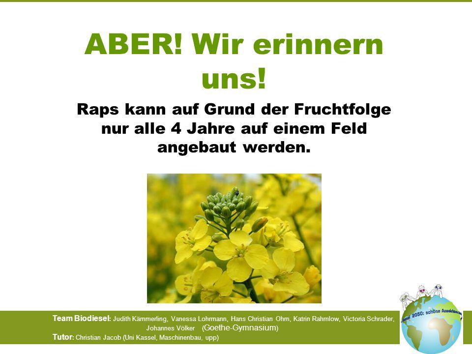 ABER! Wir erinnern uns!Raps kann auf Grund der Fruchtfolge nur alle 4 Jahre auf einem Feld angebaut werden.