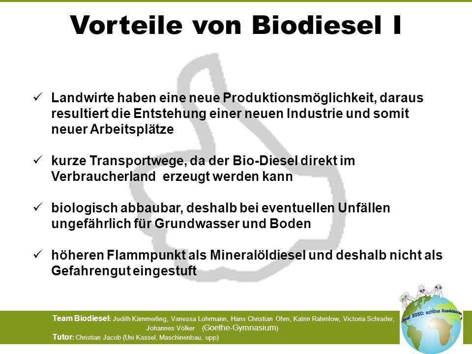 Vorteile von Biodiesel I
