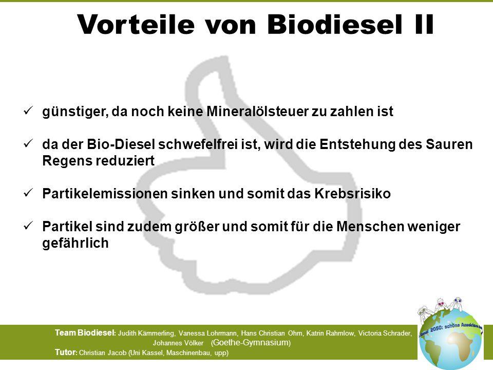 Vorteile von Biodiesel II