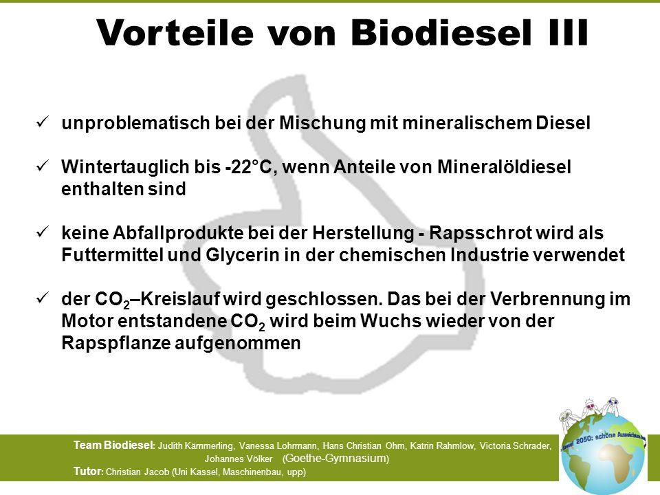Vorteile von Biodiesel III