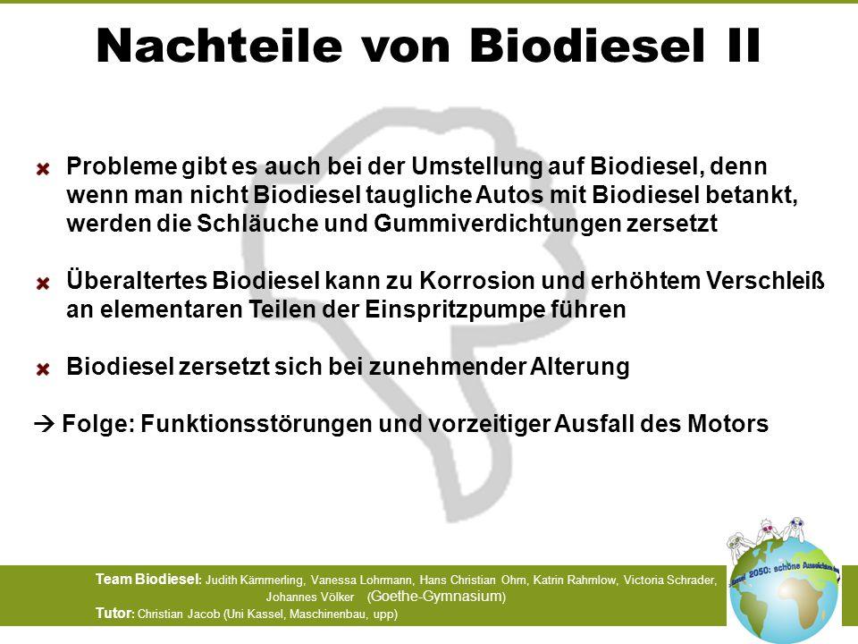 Nachteile von Biodiesel II