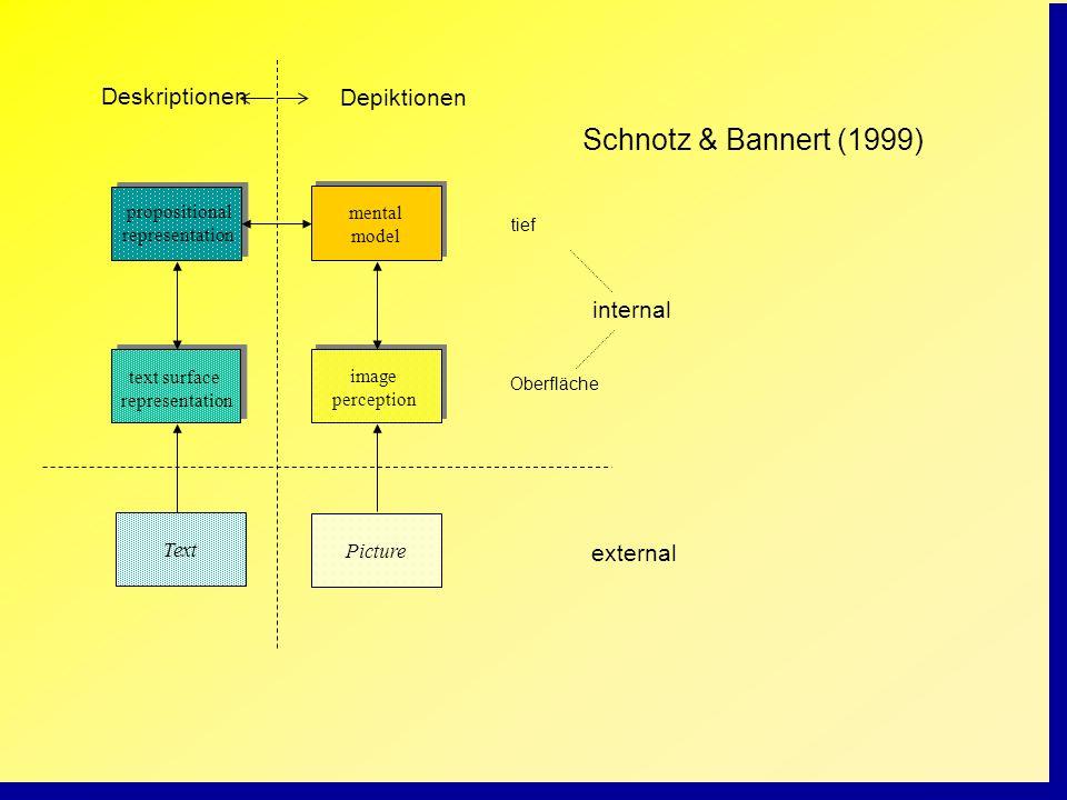 Schnotz & Bannert (1999) Deskriptionen Depiktionen internal external