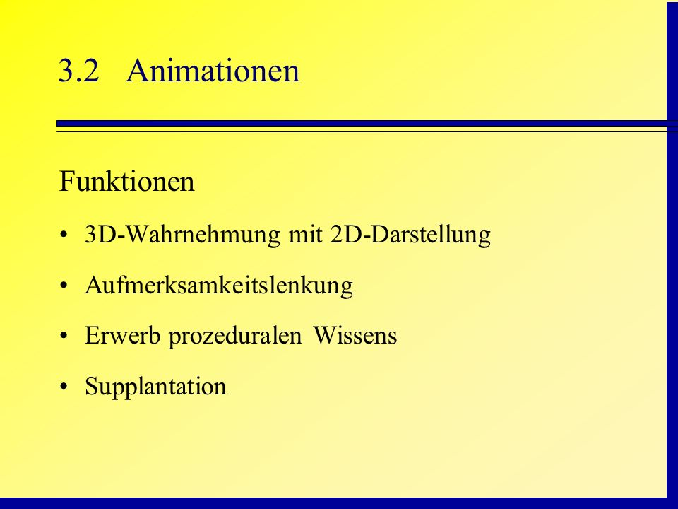 3.2 Animationen Funktionen 3D-Wahrnehmung mit 2D-Darstellung