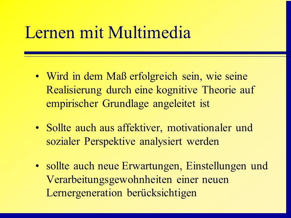 Lernen mit MultimediaWird in dem Maß erfolgreich sein, wie seine Realisierung durch eine kognitive Theorie auf empirischer Grundlage angeleitet ist.
