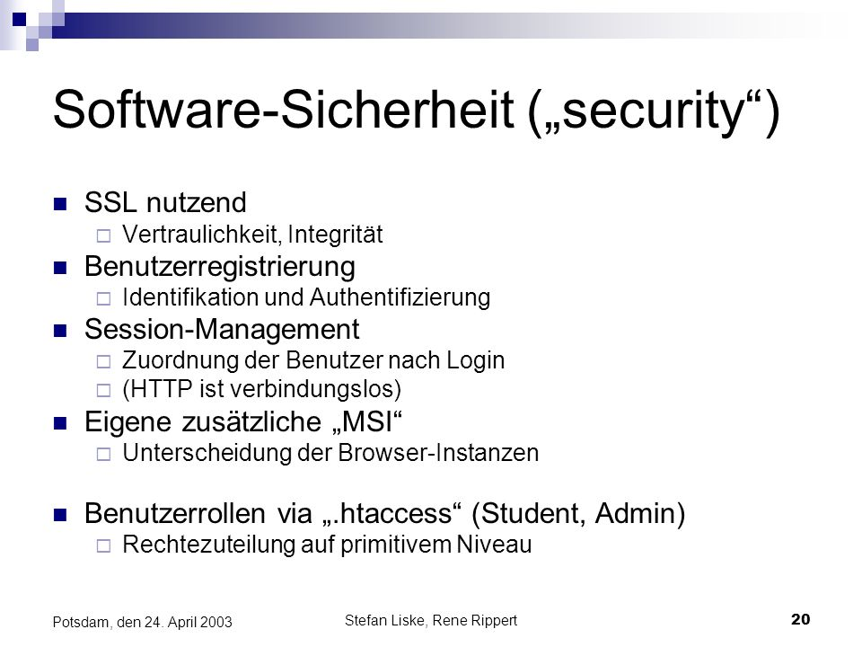 """Software-Sicherheit (""""security )"""