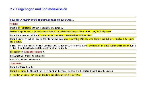 2.2. Fragebogen und Forumdiskussion