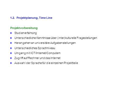1.2. Projektplanung, Time Line