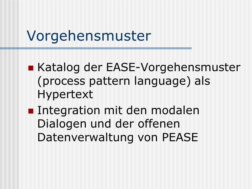 VorgehensmusterKatalog der EASE-Vorgehensmuster (process pattern language) als Hypertext.