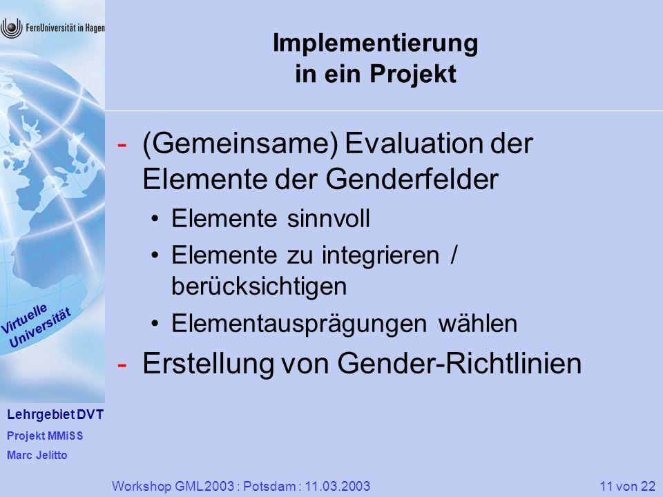 Implementierung in ein Projekt