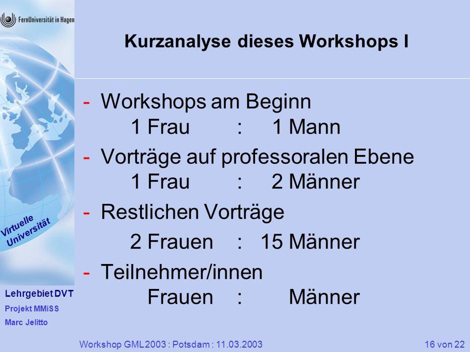 Kurzanalyse dieses Workshops I