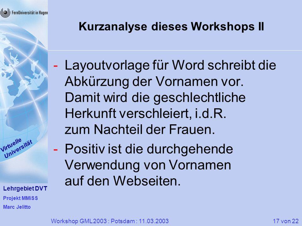 Kurzanalyse dieses Workshops II