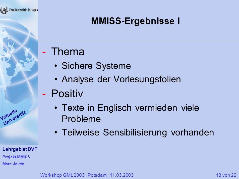 Thema Positiv MMiSS-Ergebnisse I Sichere Systeme