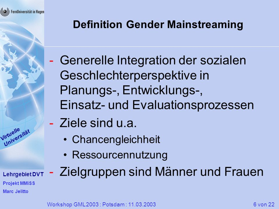 Definition Gender Mainstreaming