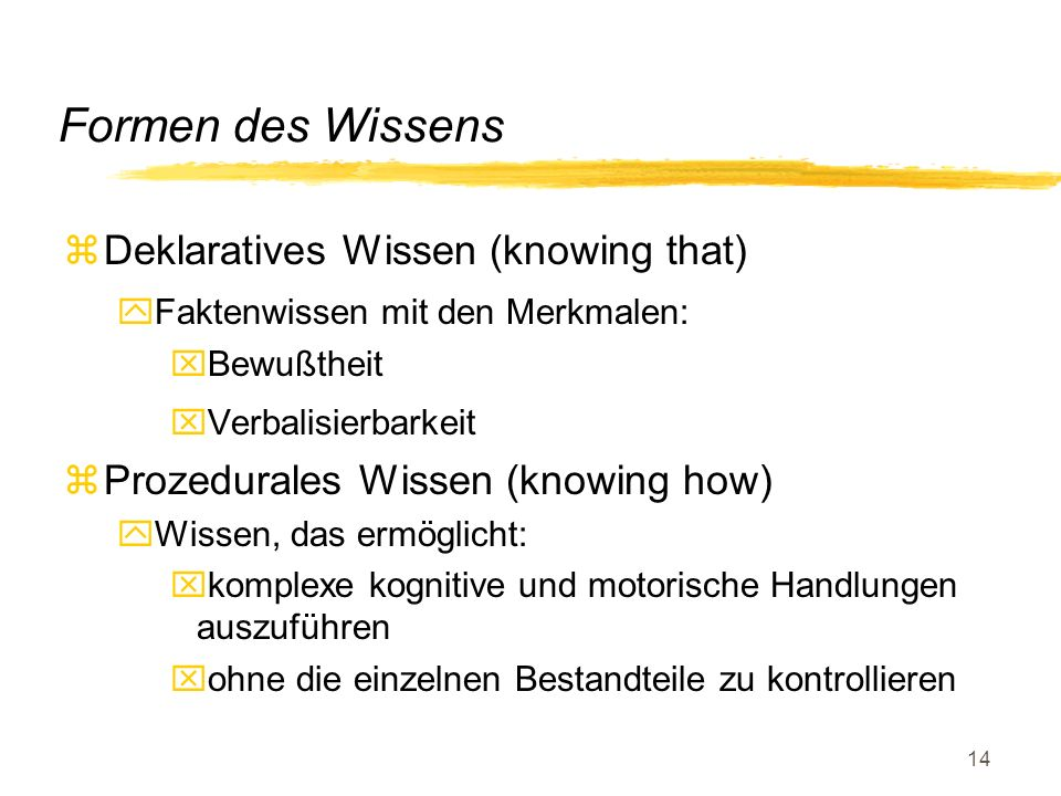 Formen des Wissens Deklaratives Wissen (knowing that)