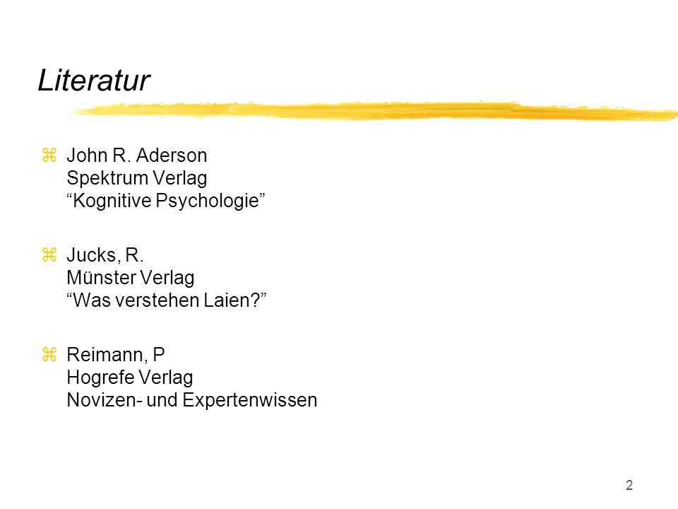 Literatur John R. Aderson Spektrum Verlag Kognitive Psychologie