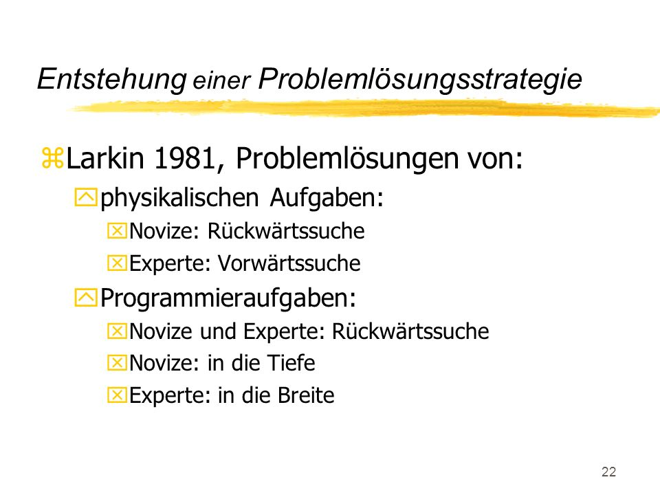 Entstehung einer Problemlösungsstrategie