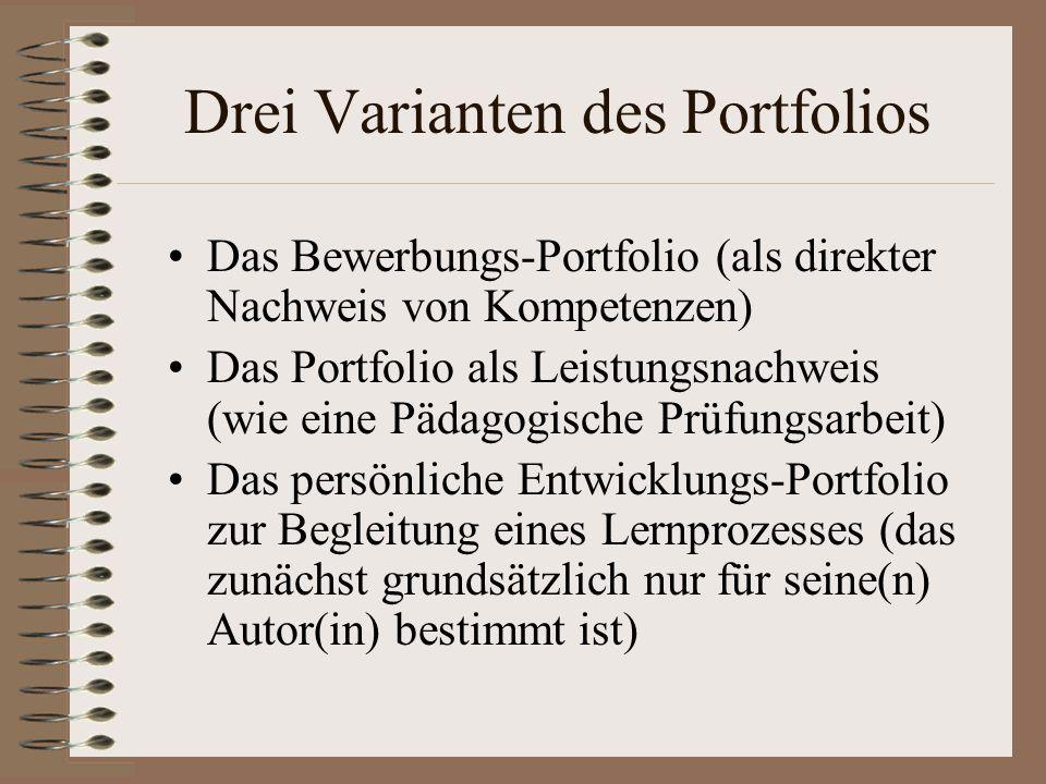 Drei Varianten des Portfolios