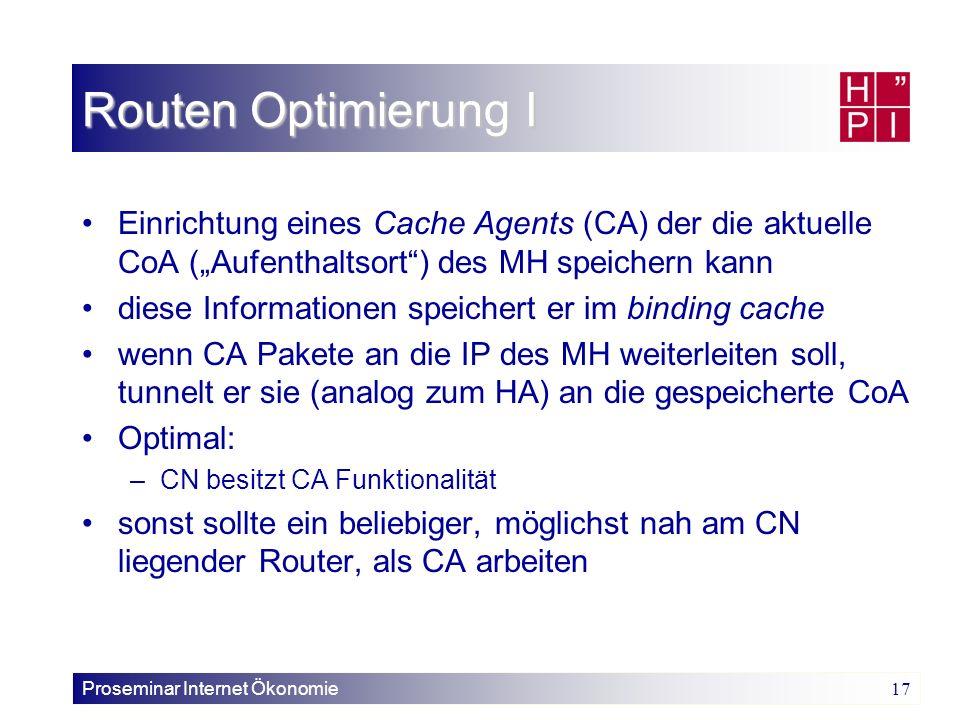 """Routen Optimierung I Einrichtung eines Cache Agents (CA) der die aktuelle CoA (""""Aufenthaltsort ) des MH speichern kann."""