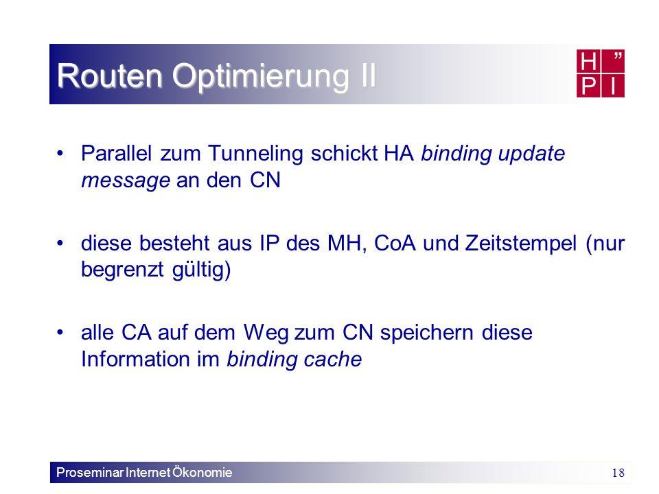 Routen Optimierung II Parallel zum Tunneling schickt HA binding update message an den CN.