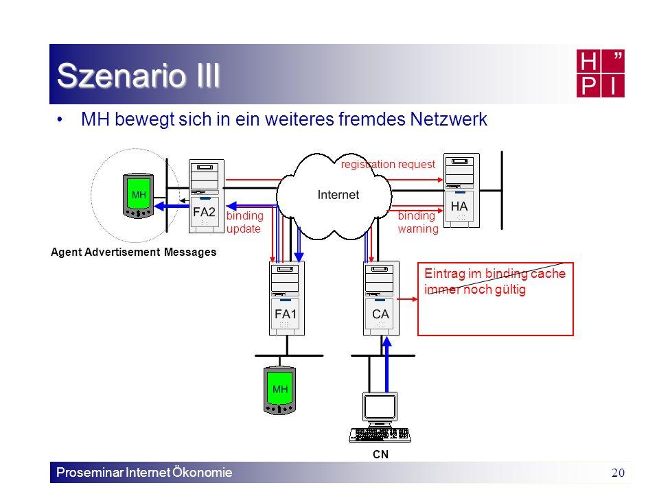 Szenario III MH bewegt sich in ein weiteres fremdes Netzwerk