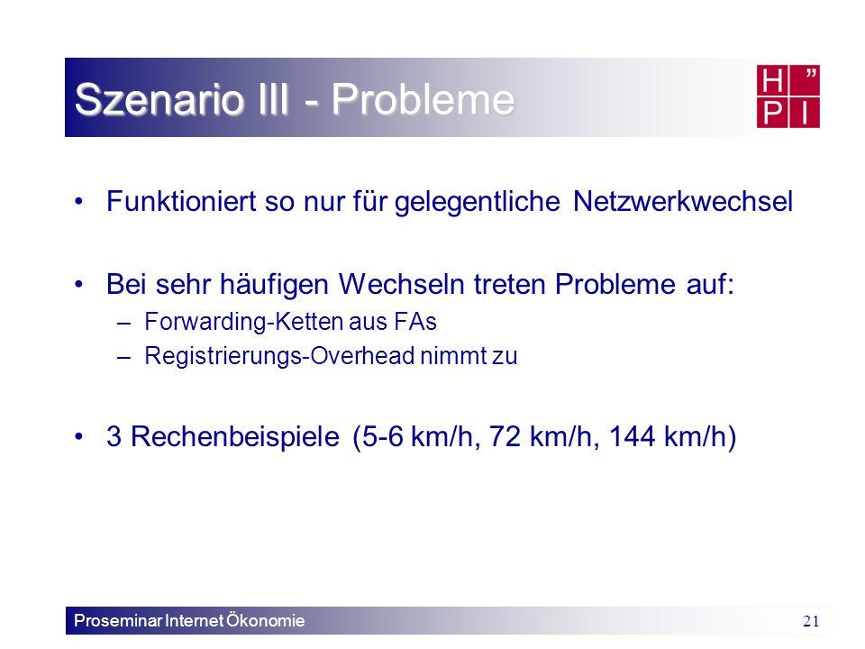 Szenario III - Probleme