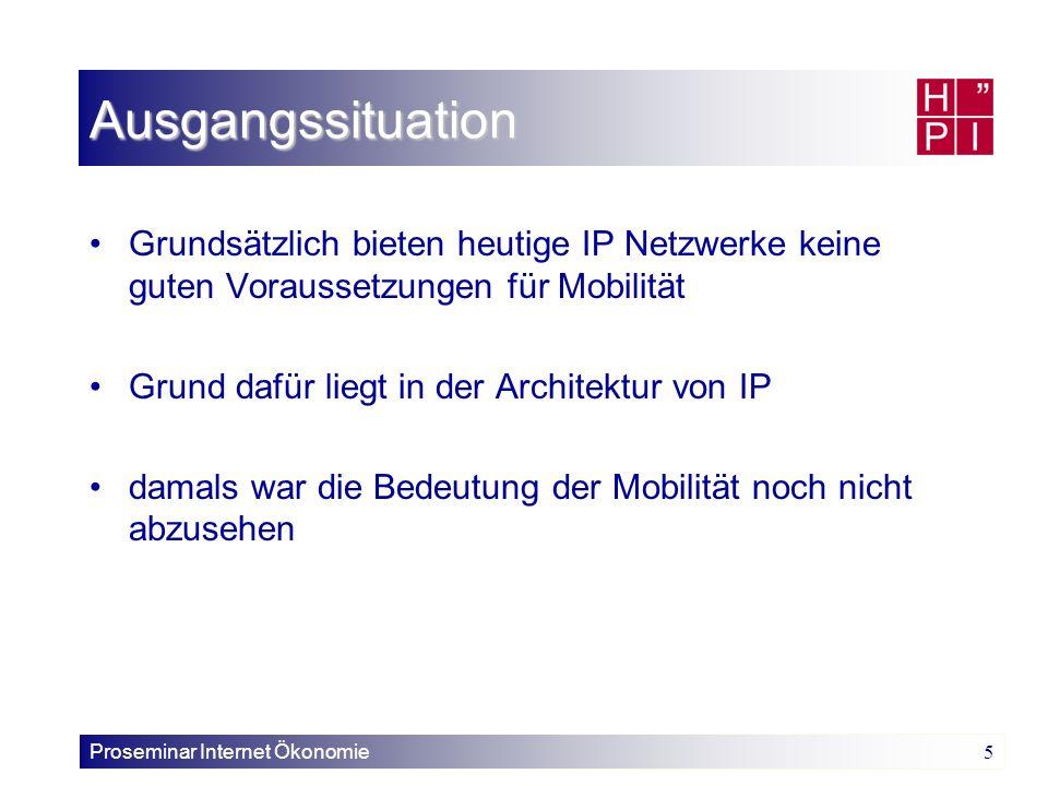 Ausgangssituation Grundsätzlich bieten heutige IP Netzwerke keine guten Voraussetzungen für Mobilität.