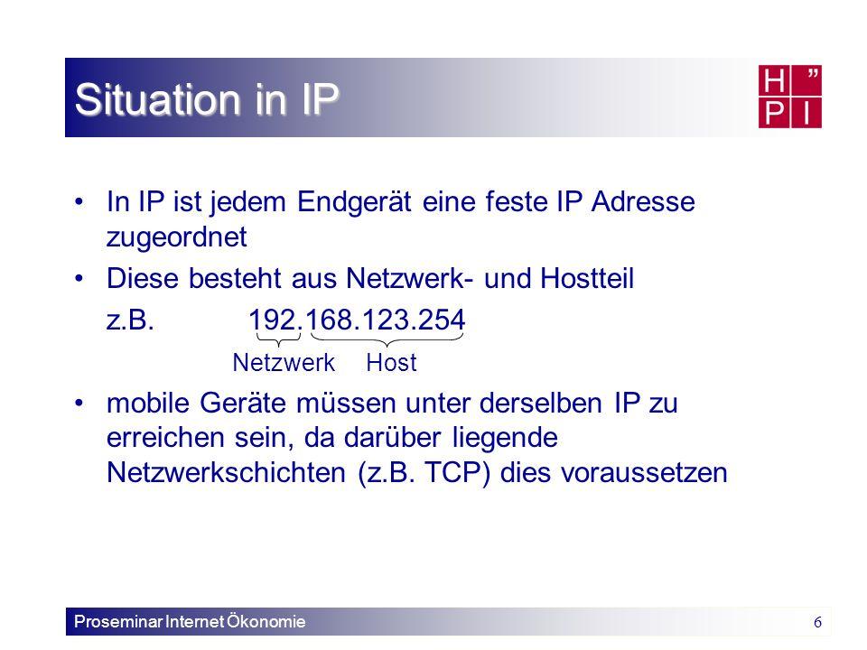 Situation in IP In IP ist jedem Endgerät eine feste IP Adresse zugeordnet. Diese besteht aus Netzwerk- und Hostteil.