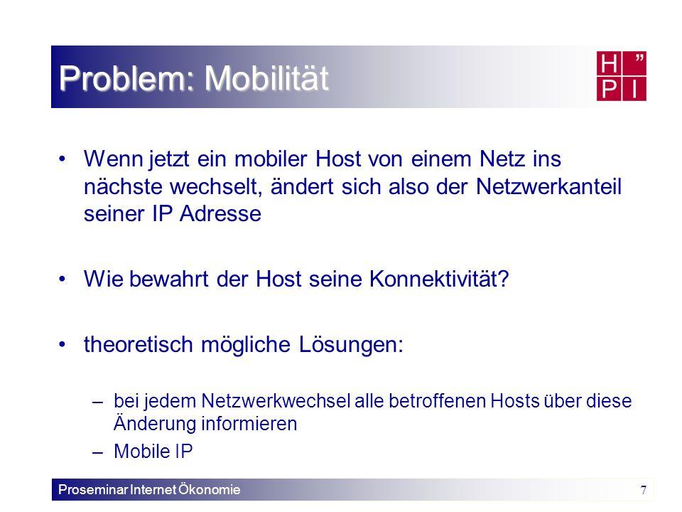 Problem: Mobilität Wenn jetzt ein mobiler Host von einem Netz ins nächste wechselt, ändert sich also der Netzwerkanteil seiner IP Adresse.